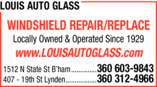 Yellow Pages Ad of Louis Auto & Residential Glass