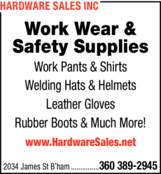 Print Ad of Hardware Sales Inc