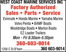 Yellow Pages Ad of West Coast Marine Services Inc