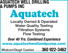 Yellow Pages Ad of Aquatech Well Drilling & Pumps Inc