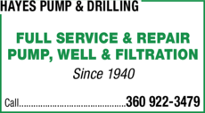 Yellow Pages Ad of Hayes Pump & Drilling