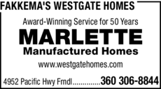 Yellow Pages Ad of Fakkema's Westgate Homes