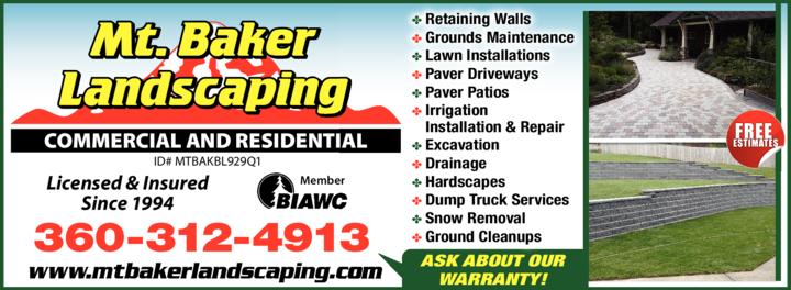 Print Ad of Mt Baker Landscaping