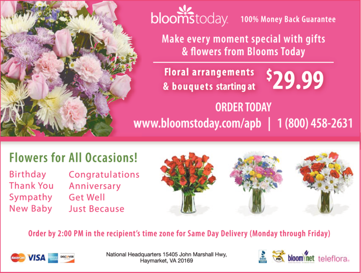 Yellow Pages Ad of Blooms Today