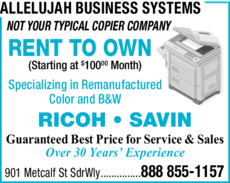 Yellow Pages Ad of Allelujah Business Systems