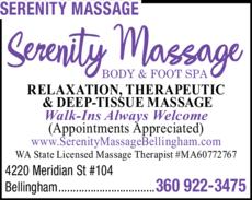 Print Ad of Serenity Massage