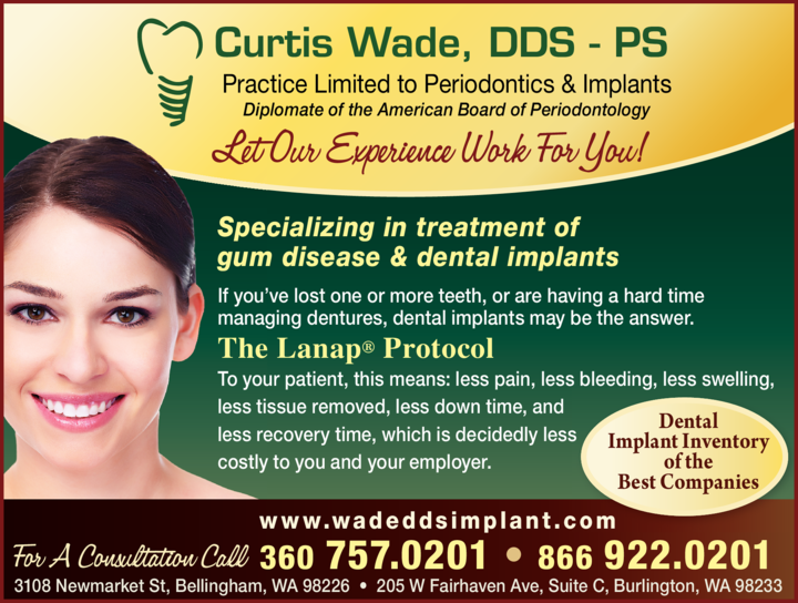 Yellow Pages Ad of Wade Curtis K Dds Ps