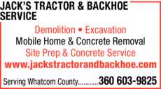 Yellow Pages Ad of Jack's Tractor & Backhoe Service