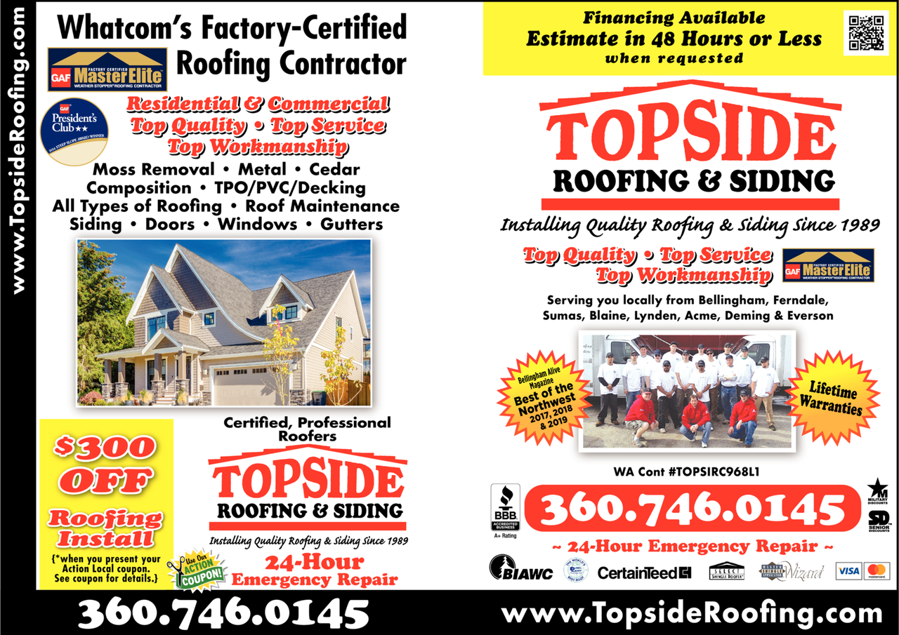 Print Ad of Topside Roofing & Siding