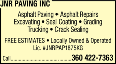 Print Ad of Jnr Paving Inc