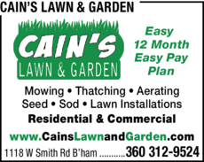 Yellow Pages Ad of Cain's Lawn & Garden