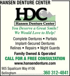 Yellow Pages Ad of Hansen Denture Center