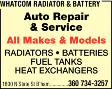 Print Ad of Whatcom Radiator & Battery
