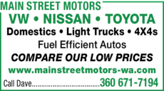 Yellow Pages Ad of Main Street Motors