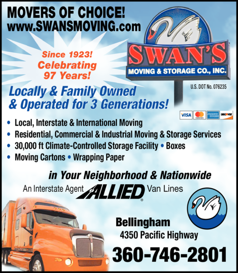 Print Ad of Swan's Moving & Storage Co Inc