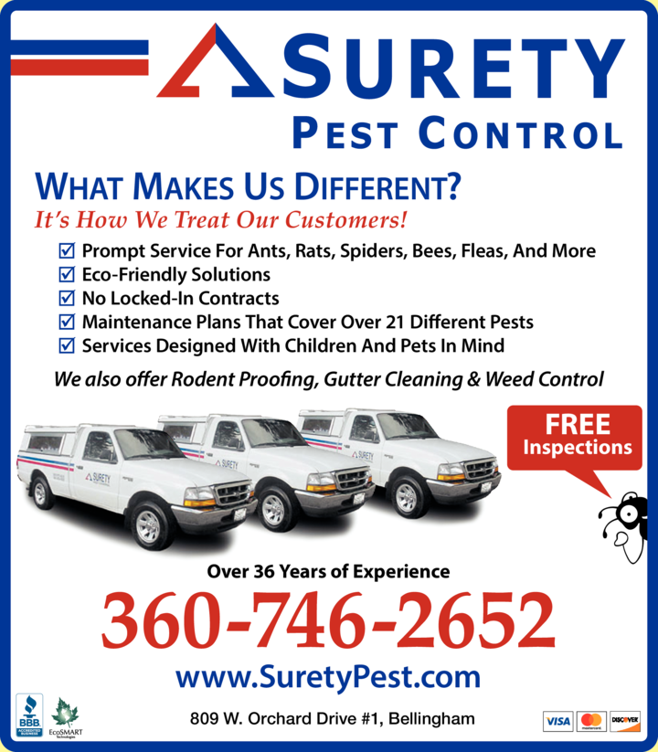 Yellow Pages Ad of Surety Pest Control
